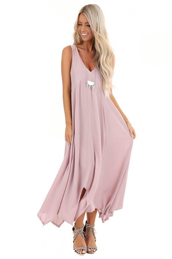 Lavender Asymmetrical Loose Fit Sleeveless Maxi Dress front full body