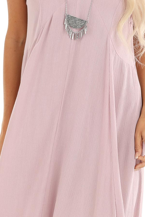 Lavender Asymmetrical Loose Fit Sleeveless Maxi Dress detail