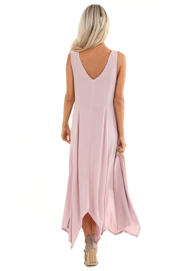 Lavender Asymmetrical Loose Fit Sleeveless Maxi Dress back full body