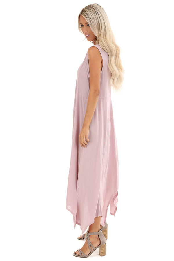 Lavender Asymmetrical Loose Fit Sleeveless Maxi Dress side full body