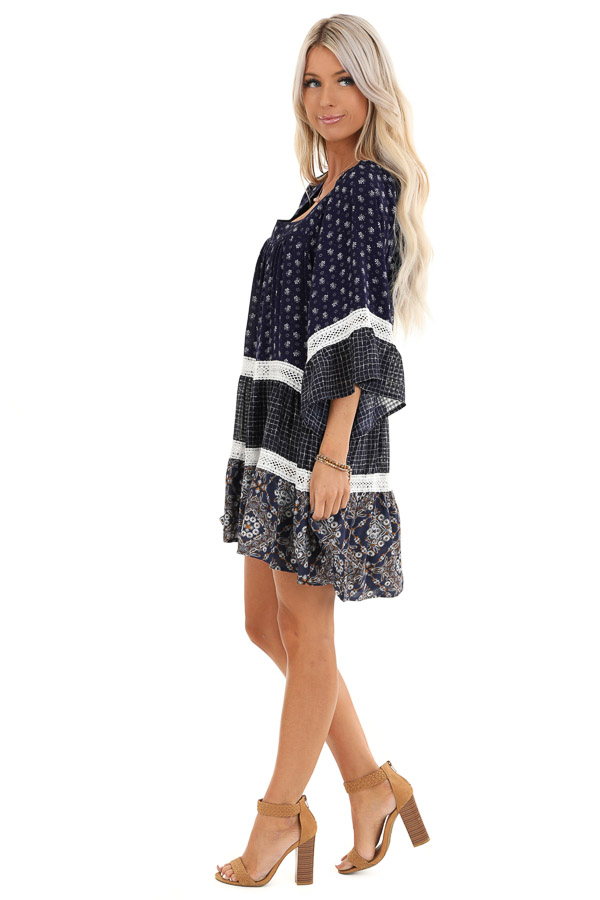 Navy Floral and Ivory Lace Layered Square Neck Mini Dress side full body