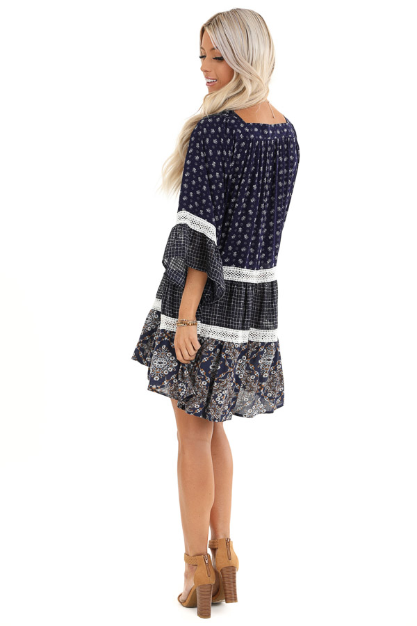 Navy Floral and Ivory Lace Layered Square Neck Mini Dress back full body