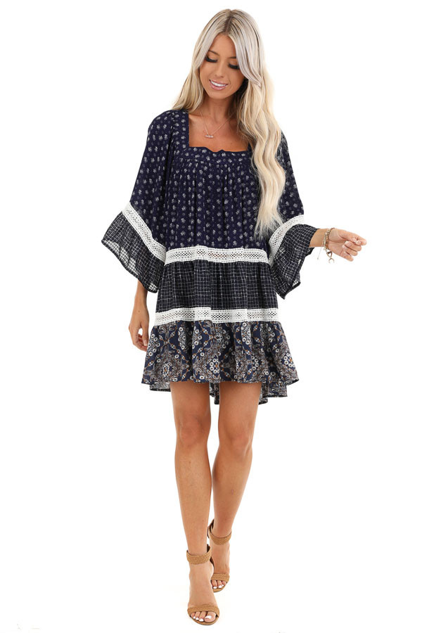 Navy Floral and Ivory Lace Layered Square Neck Mini Dress front full body