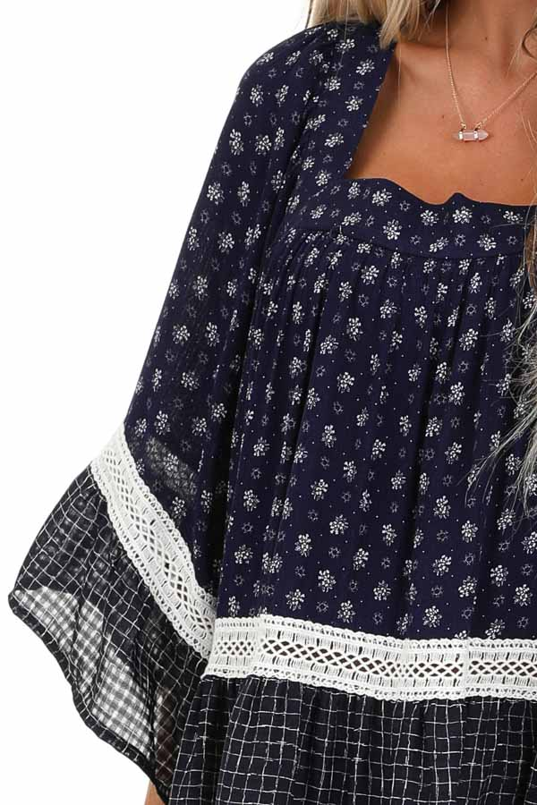 Navy Floral and Ivory Lace Layered Square Neck Mini Dress detail