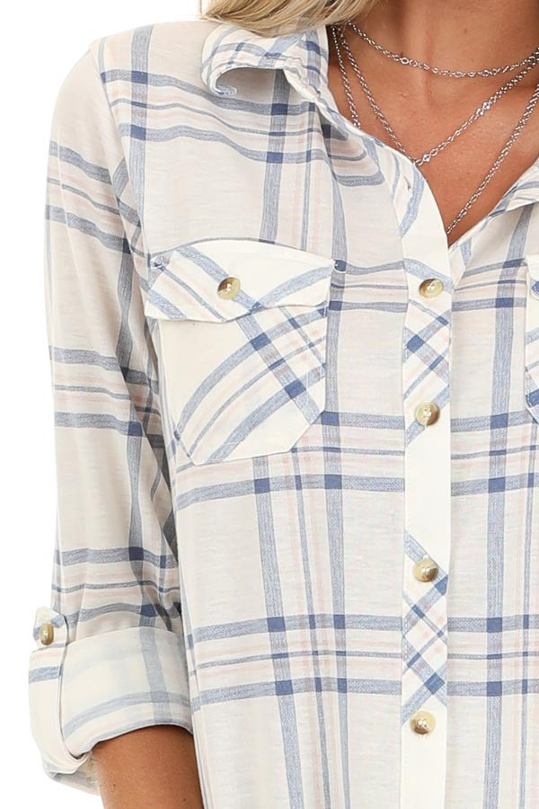 Ivory and Cornflower Plaid Button Up Top with Chest Pockets detail