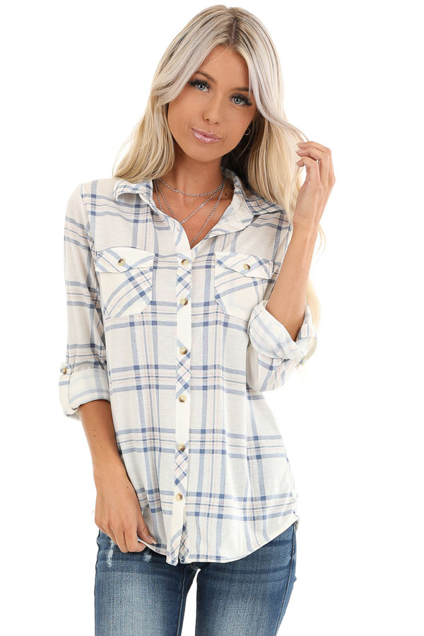 Ivory and Cornflower Plaid Button Up Top with Chest Pockets front close up