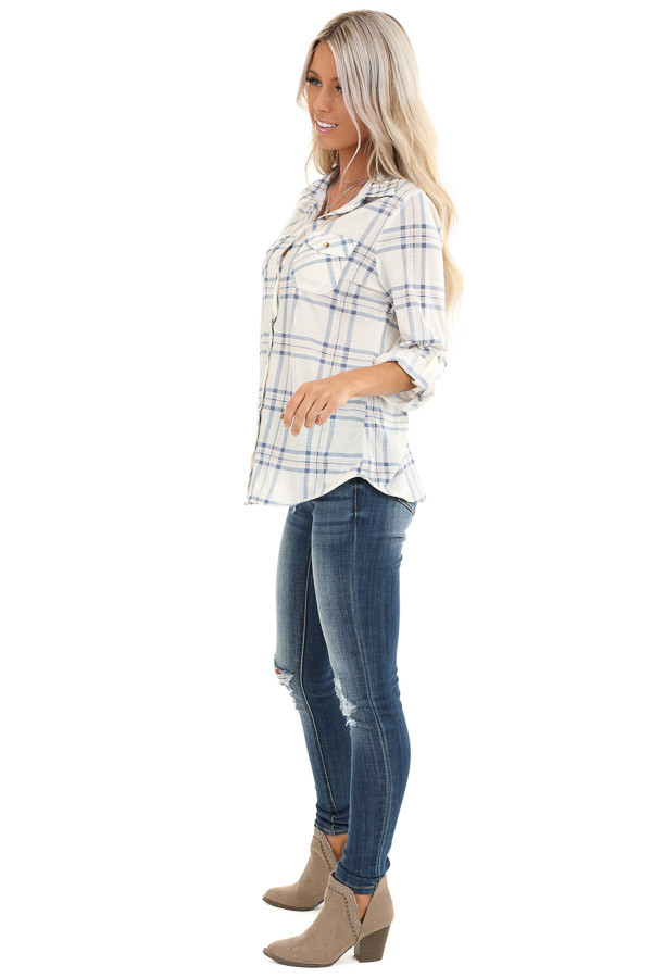 Ivory and Cornflower Plaid Button Up Top with Chest Pockets side full body