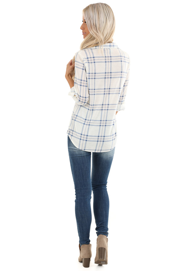 Ivory and Cornflower Plaid Button Up Top with Chest Pockets back full body