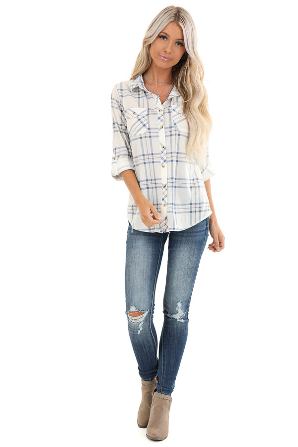 Ivory and Cornflower Plaid Button Up Top with Chest Pockets front full body