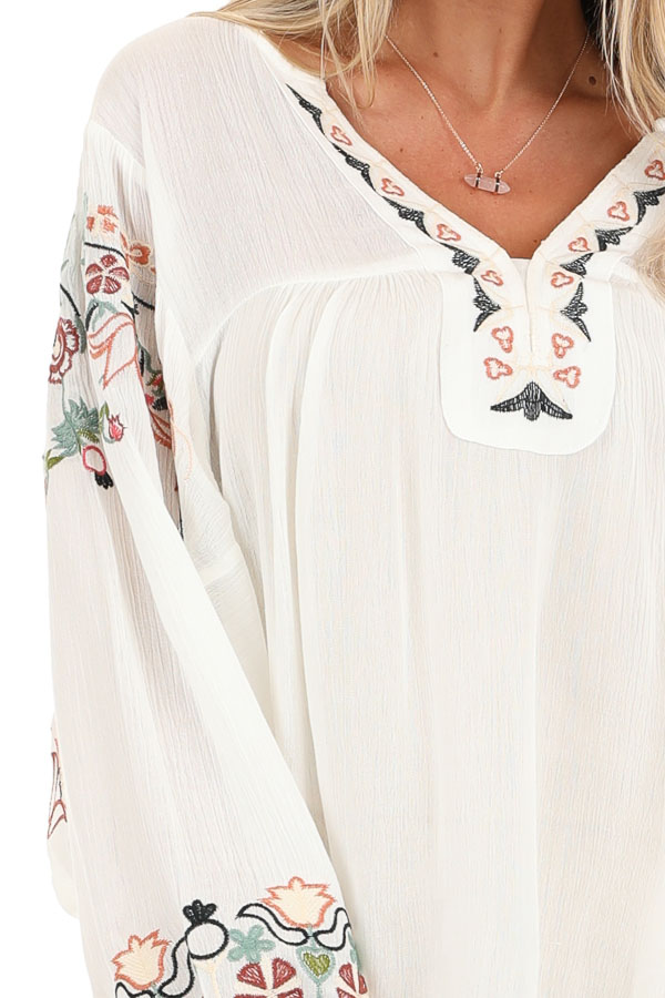 Ivory Long Sleeve Peasant Top with Embroidered Details detail