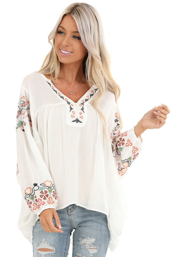 Ivory Long Sleeve Peasant Top with Embroidered Details front close up