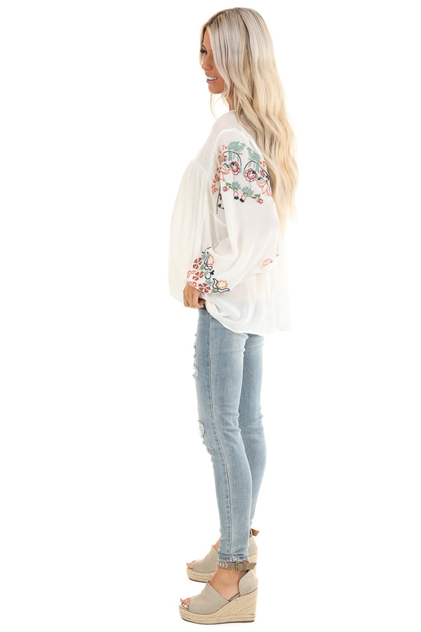 Ivory Long Sleeve Peasant Top with Embroidered Details side full body