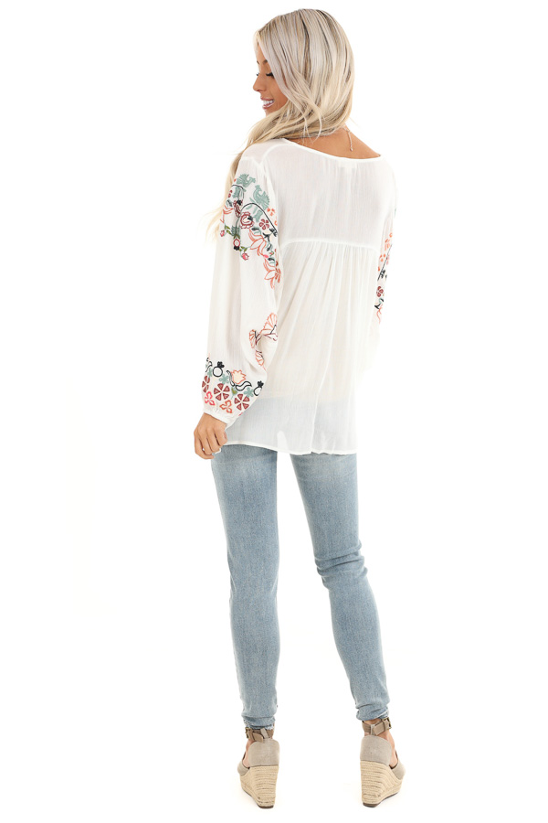 Ivory Long Sleeve Peasant Top with Embroidered Details back full body