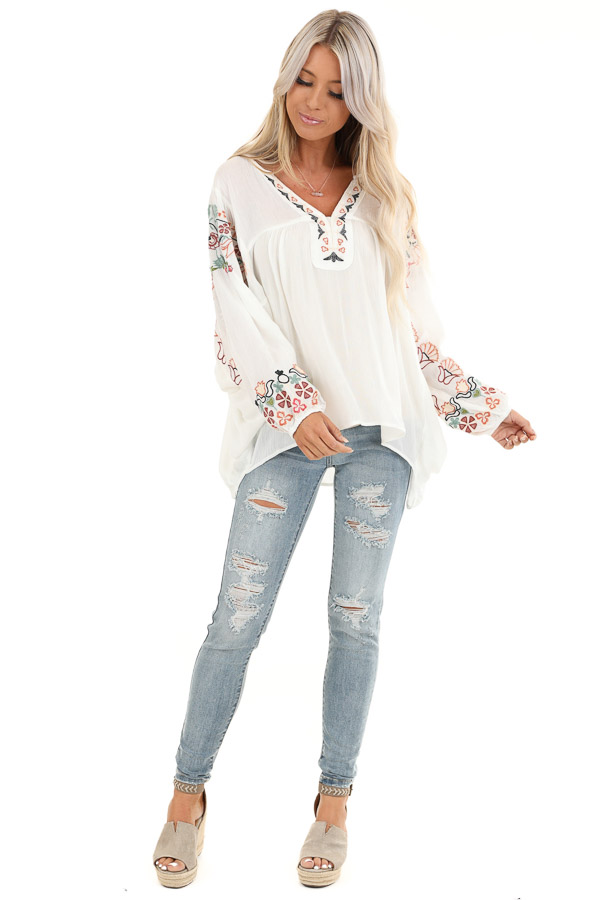 Ivory Long Sleeve Peasant Top with Embroidered Details front full body