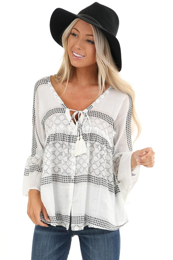 Ivory and Black Print V Neck Button Up Top with Bell Sleeves front close up