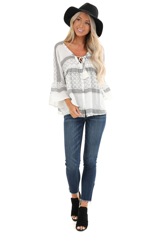 Ivory and Black Print V Neck Button Up Top with Bell Sleeves front full body