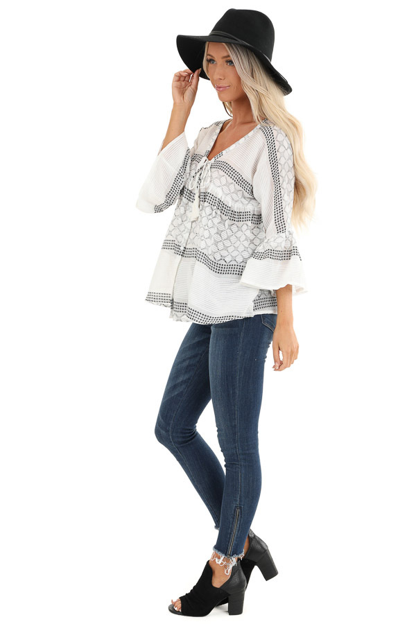Ivory and Black Print V Neck Button Up Top with Bell Sleeves side full body