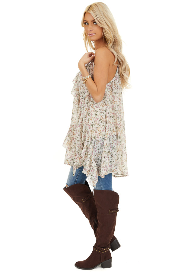 Ivory Floral Print Cami Tunic Top with Ruffle Detail side full body