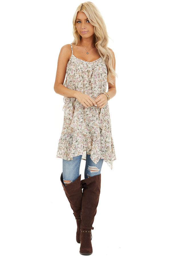 Ivory Floral Print Cami Tunic Top with Ruffle Detail front full body