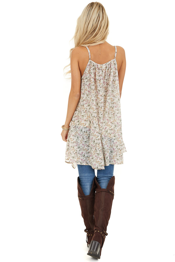 Ivory Floral Print Cami Tunic Top with Ruffle Detail back full body