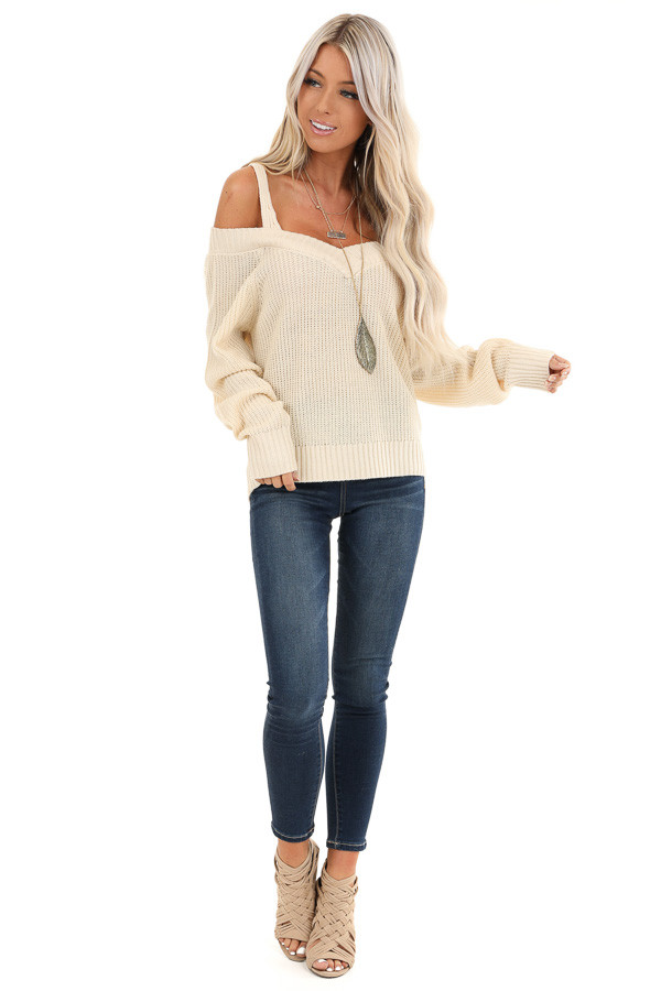 Buttermilk Cold Shoulder Crochet Sweater with Long Sleeves front full body