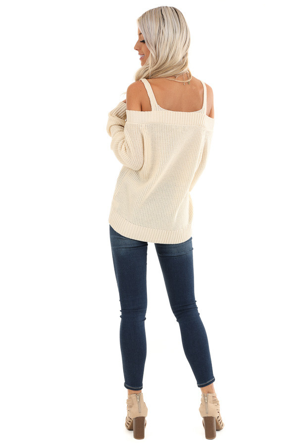 Buttermilk Cold Shoulder Crochet Sweater with Long Sleeves back full body