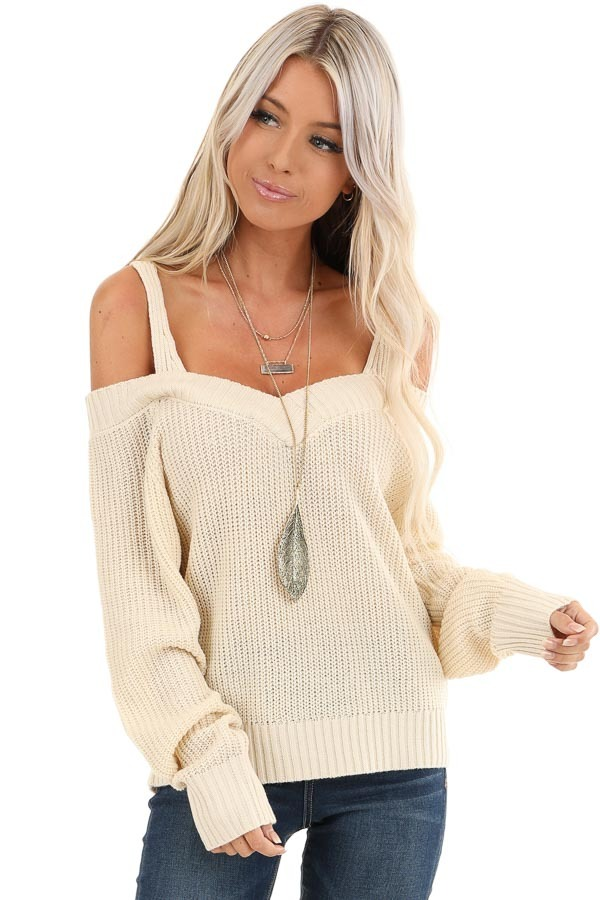 Buttermilk Cold Shoulder Crochet Sweater with Long Sleeves front close up