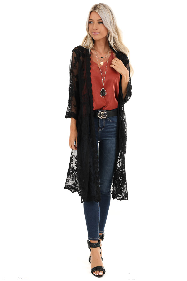 Raven Black Sheer Floral Lace Embroidered Open Front Kimono front full body