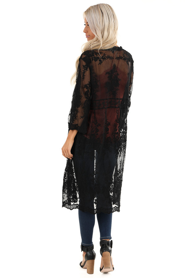 Raven Black Sheer Floral Lace Embroidered Open Front Kimono back full body