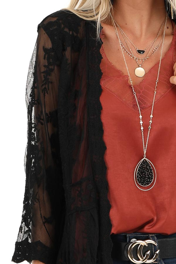 Raven Black Sheer Floral Lace Embroidered Open Front Kimono detail
