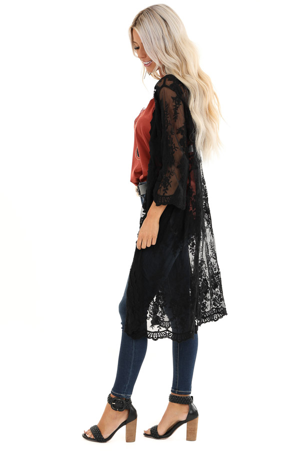 Raven Black Sheer Floral Lace Embroidered Open Front Kimono side full body