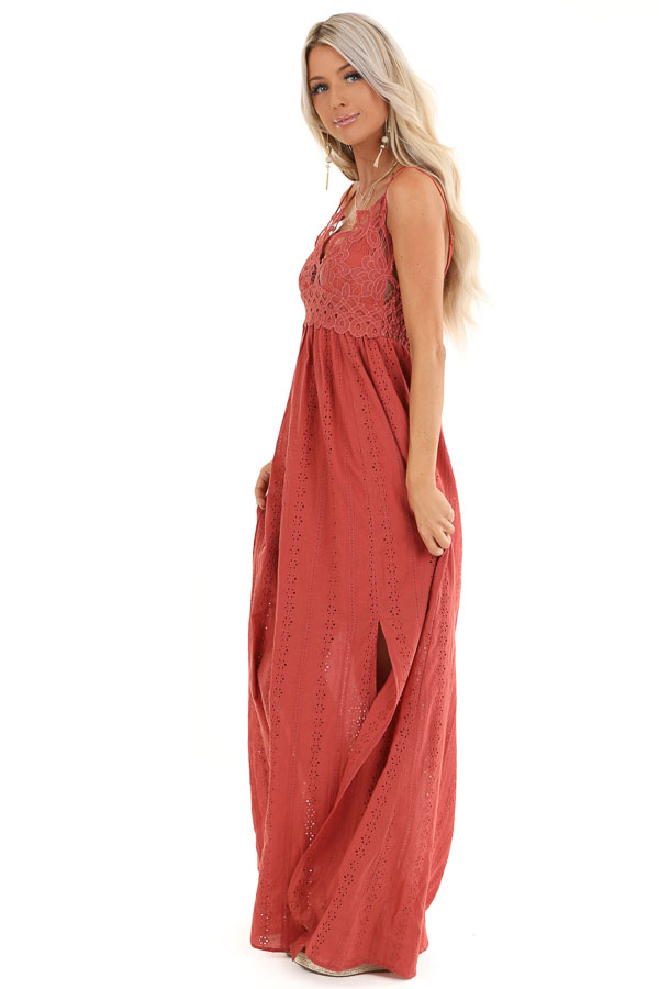 Rust Lace Spaghetti Strap Maxi Dress with Side Slit side full body