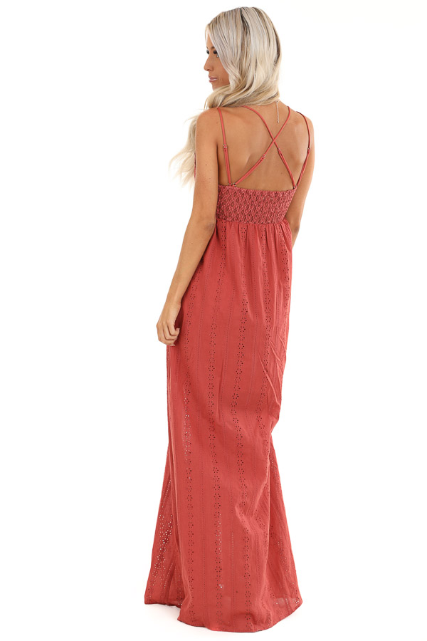 Rust Lace Spaghetti Strap Maxi Dress with Side Slit back full body