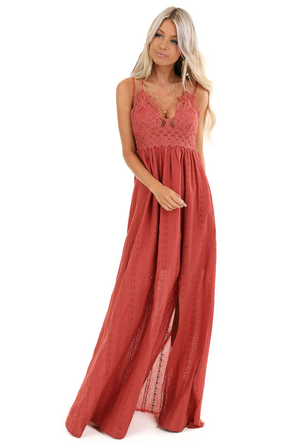 Rust Lace Spaghetti Strap Maxi Dress with Side Slit front full body