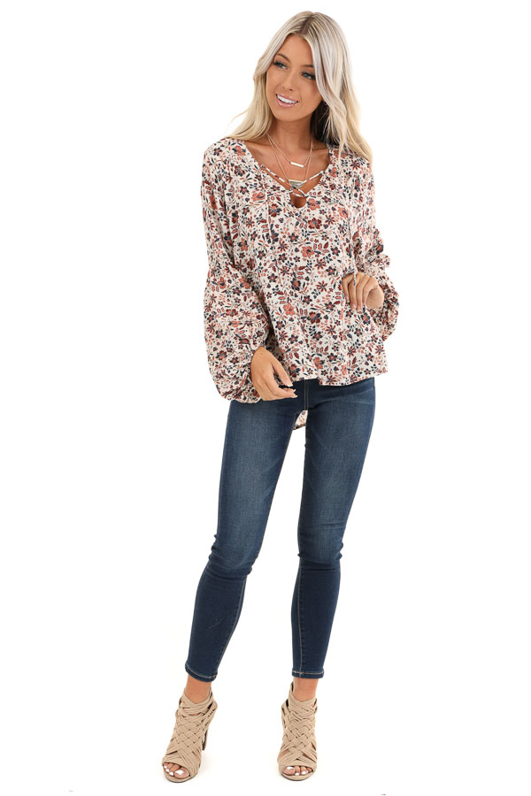 Ivory Floral Print Long Sleeve Top with Lace Up Details front full body