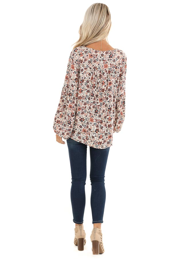 Ivory Floral Print Long Sleeve Top with Lace Up Details back full body