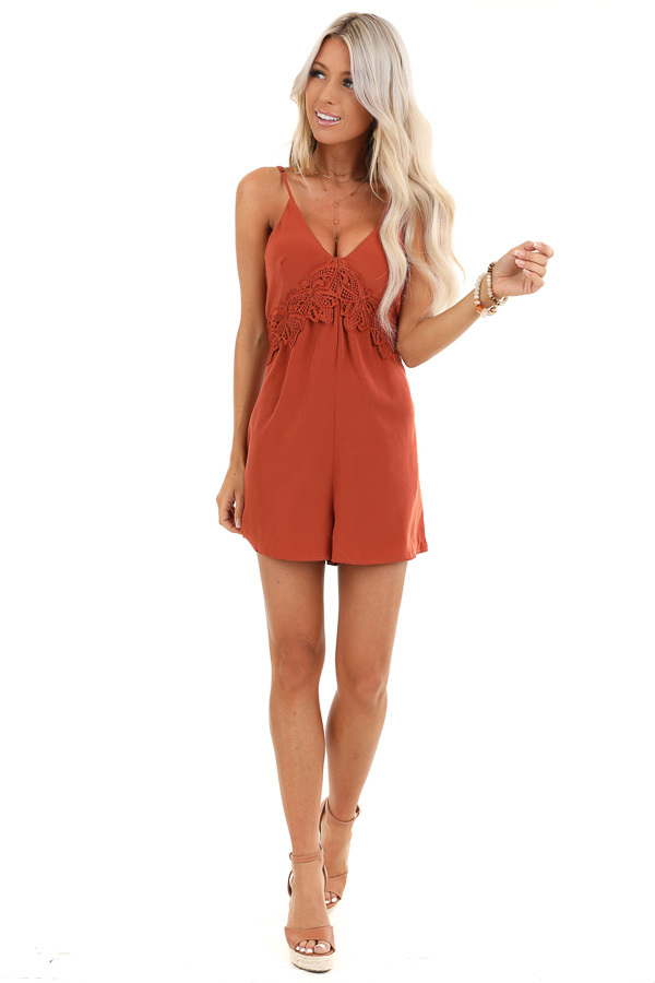 Rust V Neck Spaghetti Strap Romper with Lace Waist Detail front full body