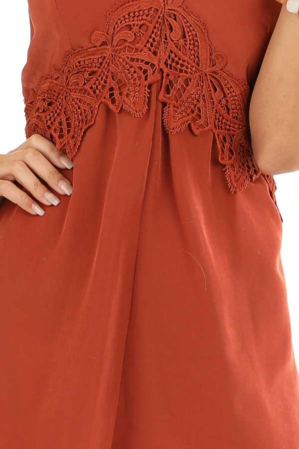 Rust V Neck Spaghetti Strap Romper with Lace Waist Detail detail