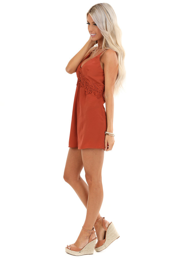 Rust V Neck Spaghetti Strap Romper with Lace Waist Detail side full body