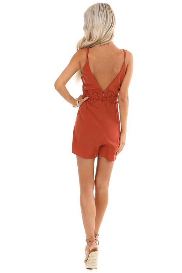 Rust V Neck Spaghetti Strap Romper with Lace Waist Detail back full body