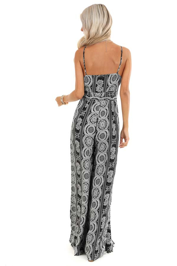 Ebony and Ivory Printed Sleeveless Jumpsuit with Waist Tie back full body