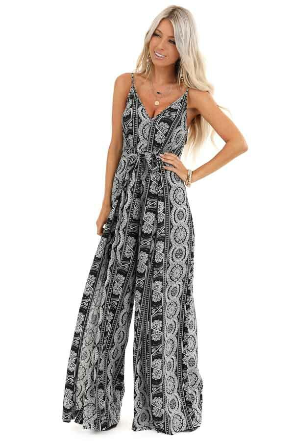 Ebony and Ivory Printed Sleeveless Jumpsuit with Waist Tie front full body