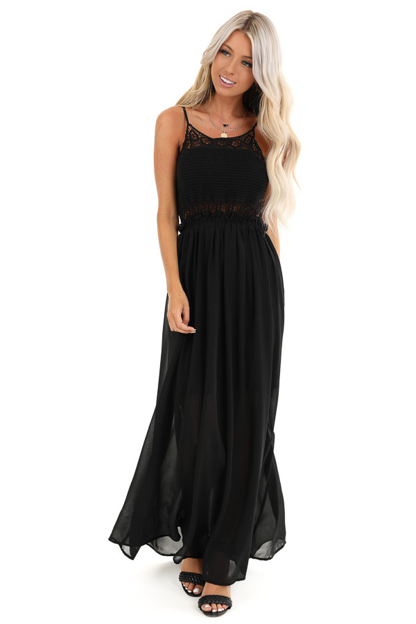 Ebony Black Spaghetti Strap Dress with Crocheted Lace Bust front full body
