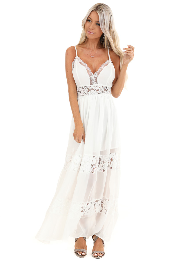 Pearl White Sleeveless Maxi Dress with Lace Details front full body