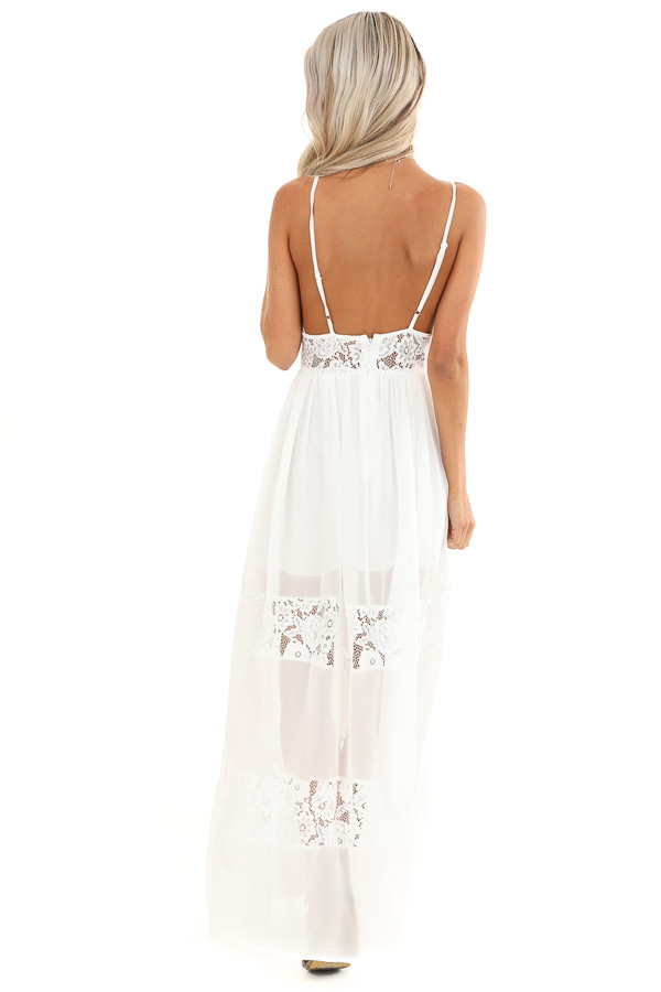 Pearl White Sleeveless Maxi Dress with Lace Details back full body