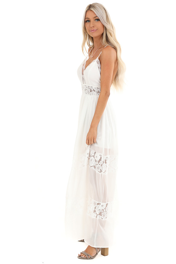 Pearl White Sleeveless Maxi Dress with Lace Details side full body