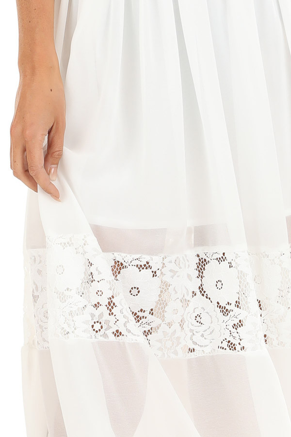 Pearl White Sleeveless Maxi Dress with Lace Details detail