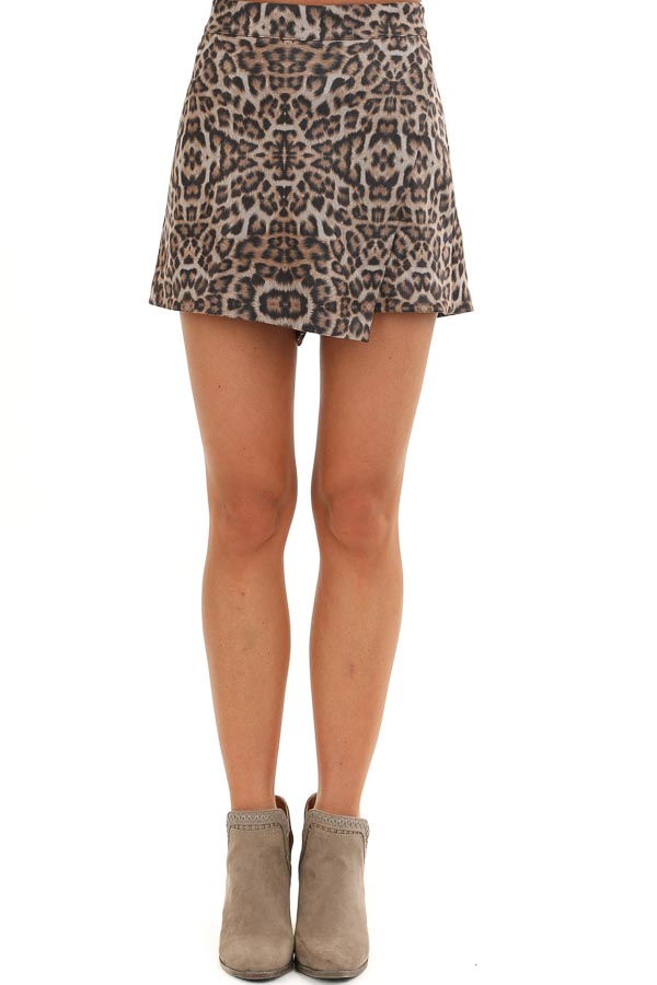 Taupe and Mocha Soft Leopard Print Skort with Elastic Waist front view