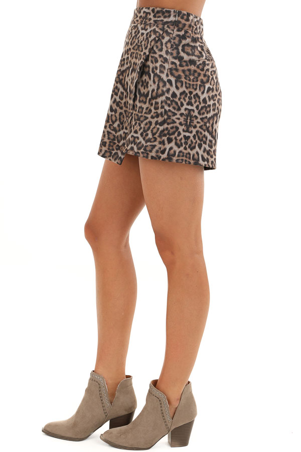 Taupe and Mocha Soft Leopard Print Skort with Elastic Waist side view