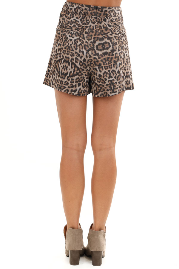 Taupe and Mocha Soft Leopard Print Skort with Elastic Waist back view